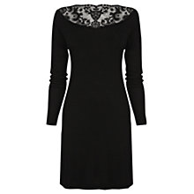 Buy Warehouse Lace Yoke Dress, Black Online at johnlewis.com