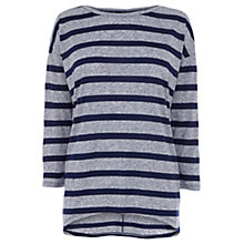 Buy Warehouse Stripe Oversized Top, Navy Online at johnlewis.com
