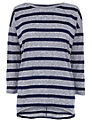 Warehouse Stripe Oversized Top, Navy