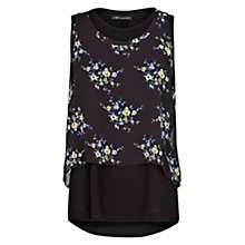 Buy Mango Double Layer Chiffon Top, Black Online at johnlewis.com