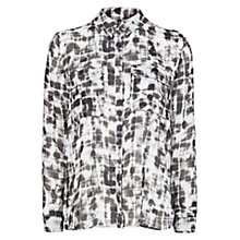 Buy Mango Waterfall Effect Chalk Shirt, Black Online at johnlewis.com