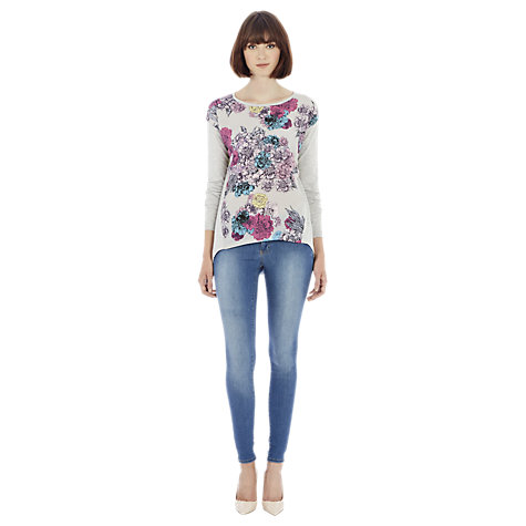 Buy Warehouse Floral Print Woven and Knitted Jumper, Light Grey Online at johnlewis.com