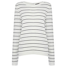 Buy Warehouse Striped Zip Back Crew Neck Top, White / Navy Online at johnlewis.com