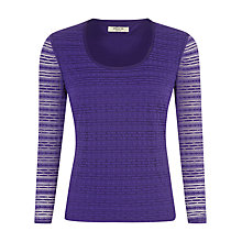 Buy Precis Petite Stripe Lace Jersey Top, Purple Online at johnlewis.com