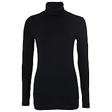 Buy French Connection Jane Roll Neck Top, Black Online at johnlewis.com