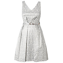 Buy Closet Metallic Flock V-Neck Dress, Silver Online at johnlewis.com