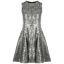 Buy Miss Selfridge Jacquard Flared Dress, Gold Mix Online at johnlewis.com