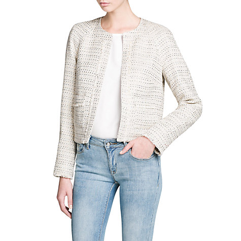Buy Mango Frayed Detail Jacket, Natural White Online at johnlewis.com