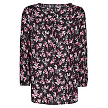 Buy Mango Floral Print Flowy Blouse, Black Online at johnlewis.com