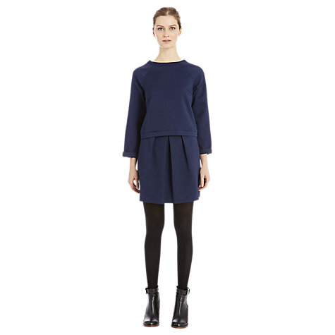 Buy Warehouse Geo Jacquard Full Skirt, Navy Online at johnlewis.com