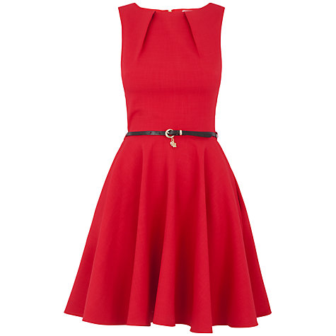 Buy Closet Flared Belted Dress, Red Online at johnlewis.com