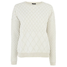 Buy Warehouse Diamond Quilted Jumper, Cream Online at johnlewis.com