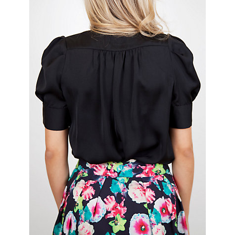 Buy Whistle & Wolf Georgette Tie Blouse, Black Online at johnlewis.com