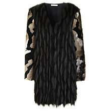 Buy True Decadence Textured Faux Fur Coat, Black/Grey Online at johnlewis.com