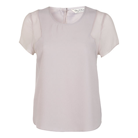 Buy Miss Selfridge Chiffon Insert T-Shirt, Mid Grey Online at johnlewis.com