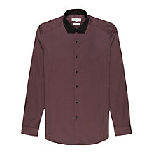 Buy Reiss Bobain Contrast Collar Plain Shirt, Burgundy Online at johnlewis.com
