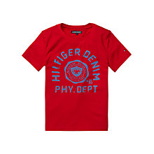 Buy Tommy Hilfiger Boys' Denim Logo T-Shirt, Red Online at johnlewis.com