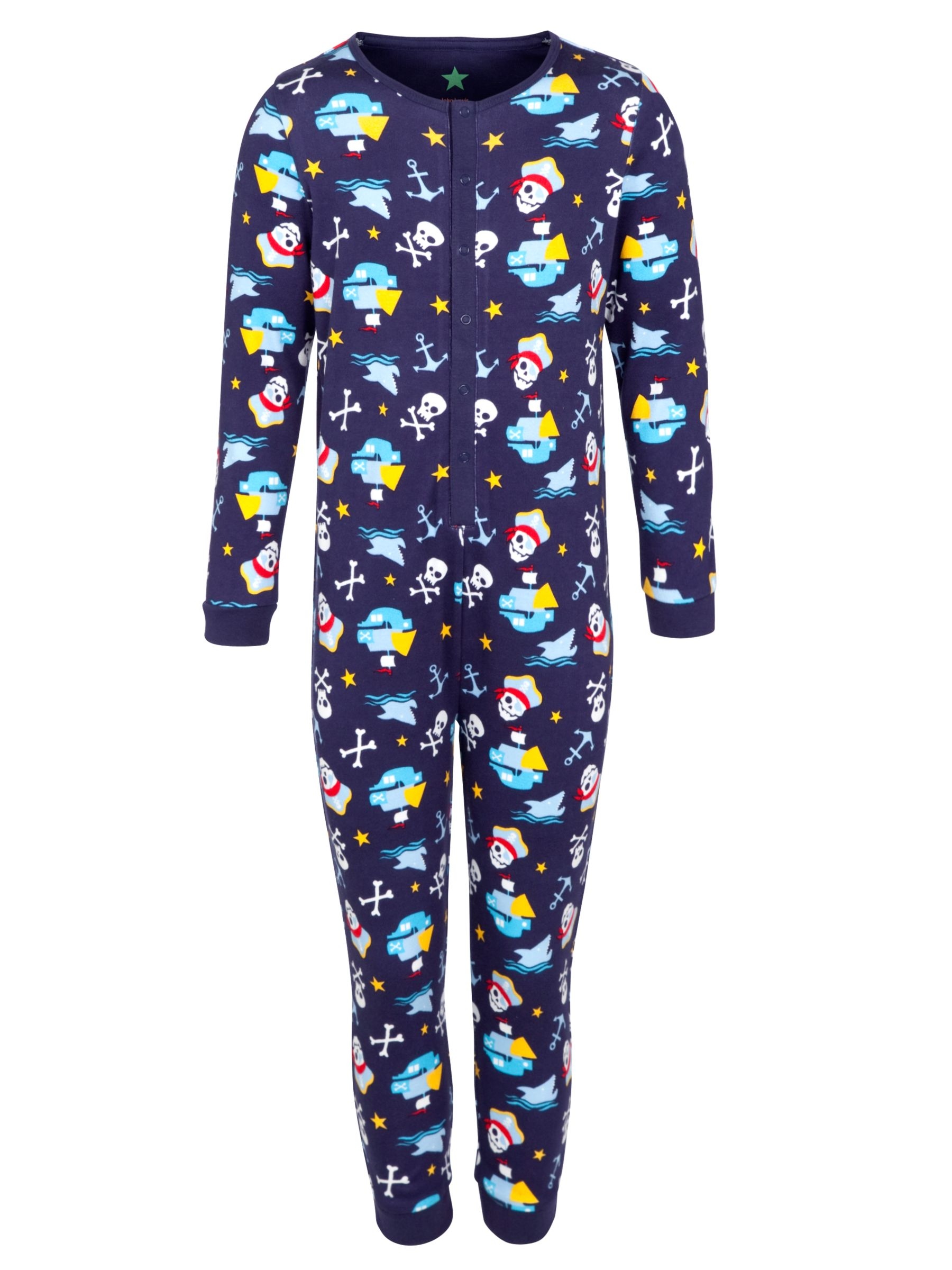 John Lewis Boy Pirate & Anchor Onesie, Navy