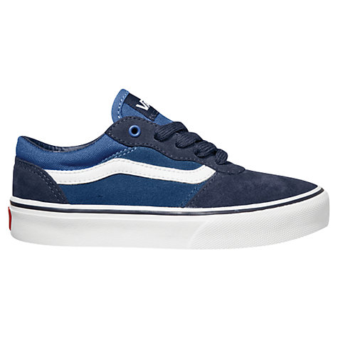 Buy Vans Milton Leather Canvas Trainers, Navy/White Online at johnlewis.com