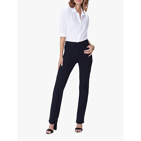 Description & Details Remarkably flattering jeans fit like they were made just for you with slimming straight legs and loads of stretch. Plus NYDJ's exclusive Lift Tuck Technology and the patented Criss Cross Panel work together to lift, shape and flatten precisely where you need it, .