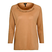 Buy Armani Jeans Jewel Trim Knitted Top, Biscuit Online at johnlewis.com