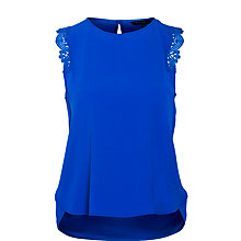 Buy Tara Jarmon Lace Trim Top, Bright Blue Online at johnlewis.com