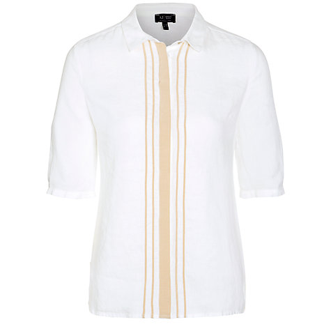 Buy Armani Jeans Contrast Trim Shirt, White Online at johnlewis.com