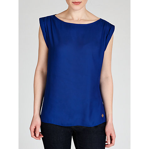 Buy Armani Jeans Roll Trim Sleeveless Top, Royal Blue Online at johnlewis.com