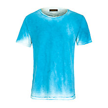 Buy Selected Homme Spray O-Neck Vintage Wash T-Shirt, Light Blue Online at johnlewis.com
