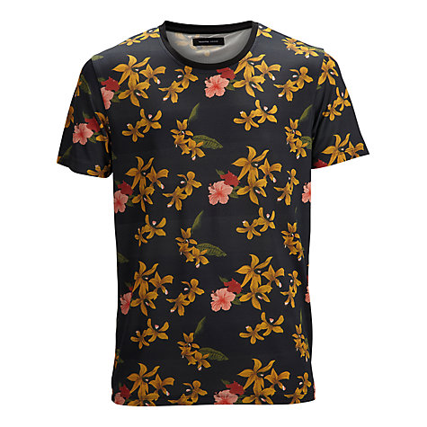 Buy Selected Homme Floral Print Short Sleeve T-Shirt, Black/Yellow Online at johnlewis.com