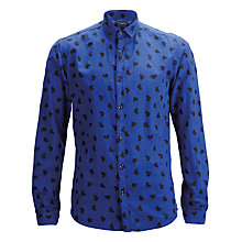 Buy Selected Homme Overdyed Twill Heart Pattern Long Sleeve Shirt, Night Sky/Heart Online at johnlewis.com