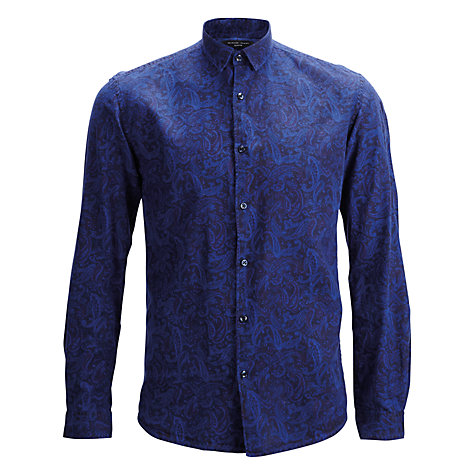 Buy Selected Homme Overdyed Twill Paisley Pattern Long Sleeve Shirt, Night Sky/Paisley Online at johnlewis.com