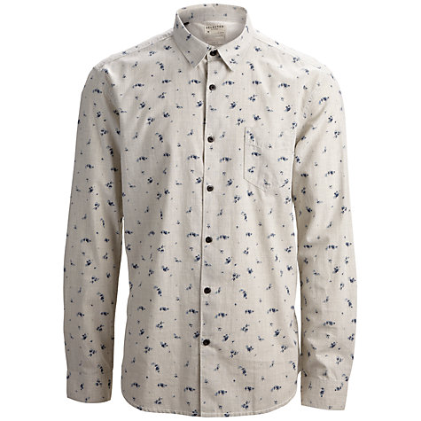 Buy Selected Homme Mett Cotton Long Sleeve Shirt, White Asparagus Online at johnlewis.com