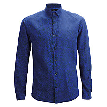 Buy Selected Homme Overdyed Twill Animal Pattern Long Sleeve Shirt, Night Sky/Animal Online at johnlewis.com