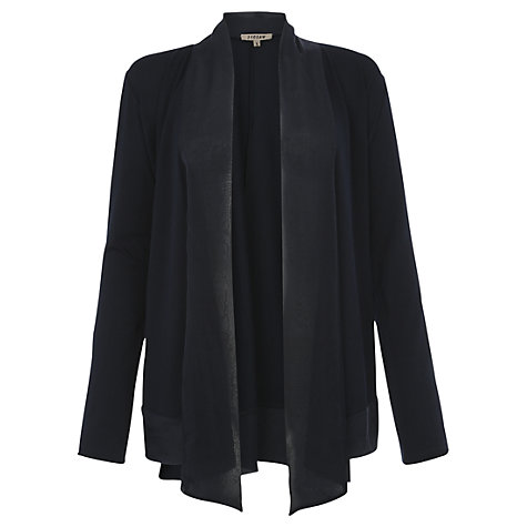 Buy Jigsaw Silk Trim Jersey Drape Cardigan, Black Online at johnlewis.com