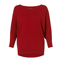 Buy Jigsaw Draped Hem Sweatshirt, Red Online at johnlewis.com