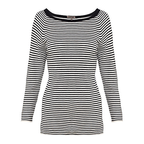 Buy Jigsaw Cashmere Blend Stripe Jumper, Black/White Online at johnlewis.com