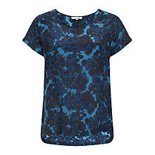 Buy Jigsaw Flower Silk T-shirt, Navy Online at johnlewis.com