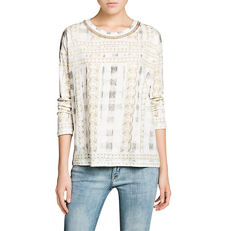 Buy Mango Chain Neck Linen Blend Top, White Online at johnlewis.com