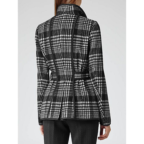 Buy Reiss Short Check Jacket, Black/White Online at johnlewis.com