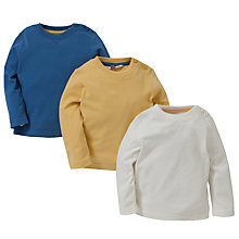 Buy John Lewis Long Sleeve Cotton T-Shirts, Pack of 3, Multi Online at johnlewis.com