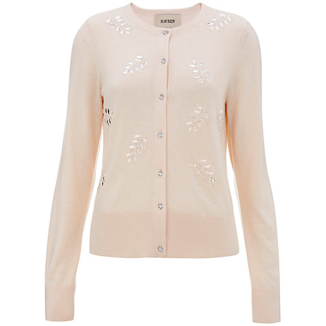 Buy Havren Beaded Front Cardigan, Nude Online at johnlewis.com