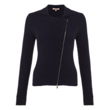 Buy Jigsaw Cashmodal Basket Stitch Biker Jacket, Navy Online at johnlewis.com