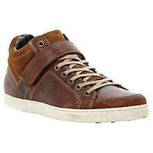 Buy Dune Skylight Leather Hi Top Trainers, Tan Online at johnlewis.com