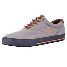 Buy Polo Ralph Lauren Vaughn Canvas Trainers, Grey/Orange Online at johnlewis.com