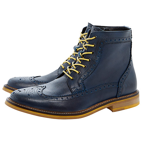Buy Bertie Cambridge Heath Leather Brogue Boots, Navy Online at johnlewis.com