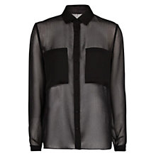 Buy Mango Pocket Textured Chiffon Blouse, Black Online at johnlewis.com