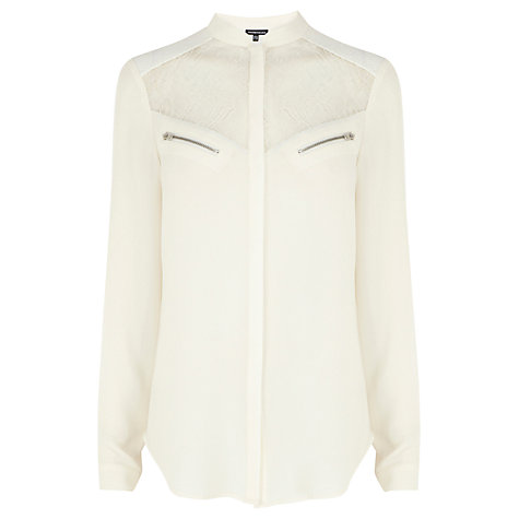 Buy Warehouse Lace And Zip Blouse, Cream Online at johnlewis.com