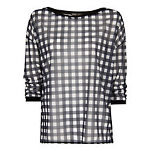 Buy Mango Gingham T-Shirt, Natural White Online at johnlewis.com