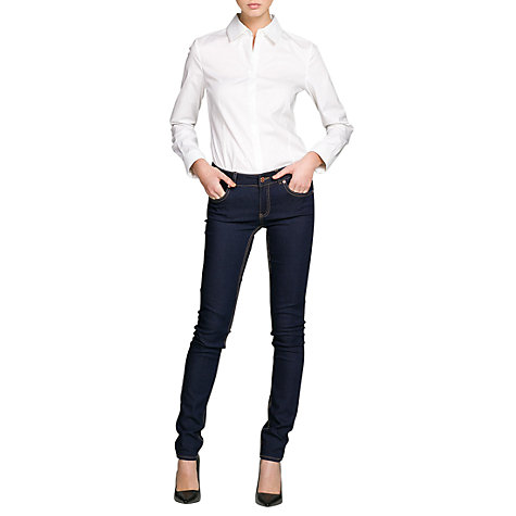 Buy Mango Fitted Cotton Shirt, White Online at johnlewis.com
